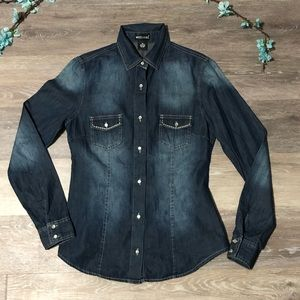🎄5/$25 Wet Seal Chambray Western Button Up Top